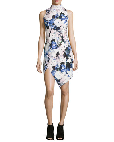 Subtract Sleeveless Floral-Print Dress, Watercolor Floral