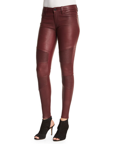 Tonya Leather Moto Skinny Pants, Mulberry