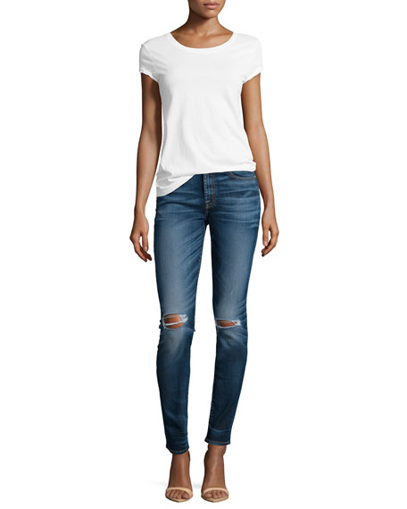 Mid-Rise Destroyed Skinny Jeans, Marie Vintage Blue 2