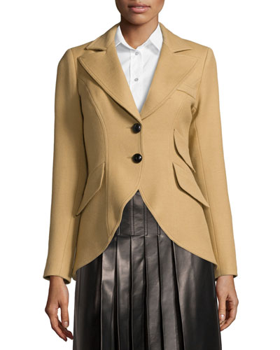 Equestrian Two-Button Jacket, Camel/Black