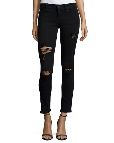 Emma Slashed Cropped Jeans, Black