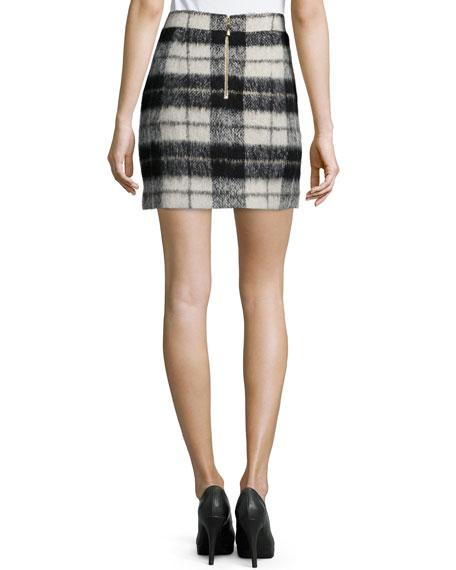 mohair-blend plaid miniskirt