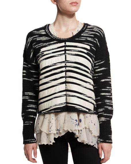Foundrae Boxy Leather Trim Sweater, Black/White