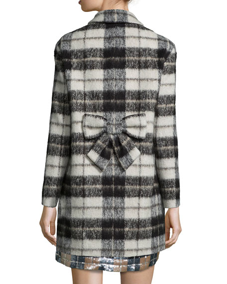 kate spade new york plaid mohair blend bow back coat. Black Bedroom Furniture Sets. Home Design Ideas