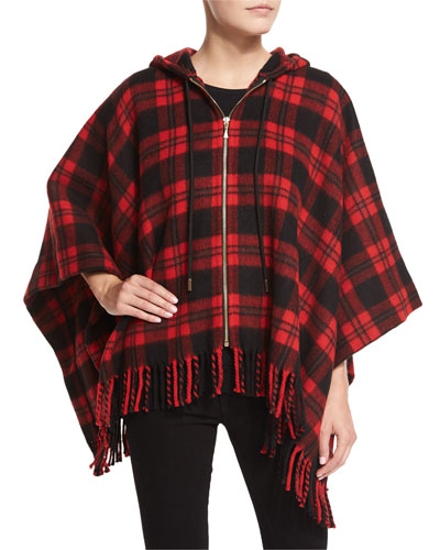 hooded zip-front plaid poncho