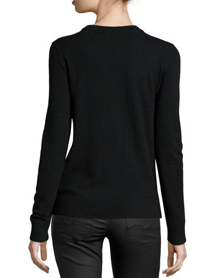 fox-print crewneck sweater
