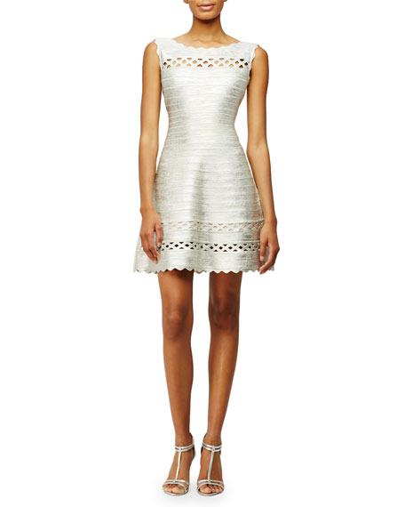 Herve Leger Sleeveless Fit-and-Flare Bandage-Knit Dress, Silver