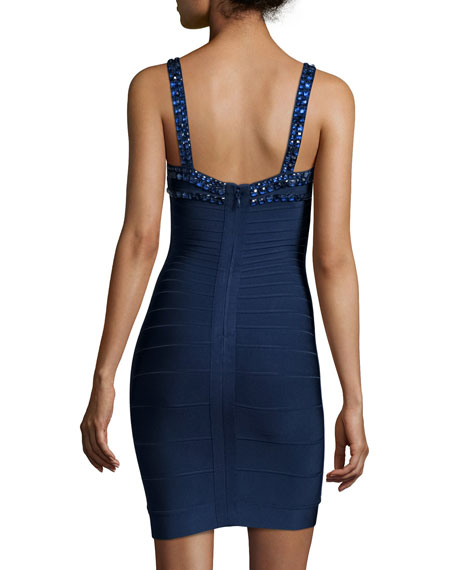 Embellished-Neck Bandage Dress, Pacific Blue