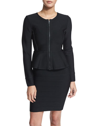 Long-Sleeve Zip-Front Peplum Jacket, Black