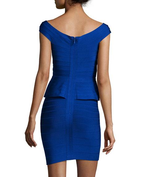 Off-The-Shoulder Peplum Bandage Dress, Blue Sapphire