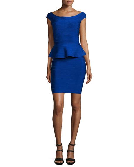 Herve Leger Off-The-Shoulder Peplum Bandage Dress, Blue Sapphire