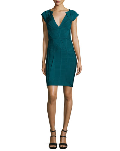 Cap-Sleeve V-Neck Bandage Dress, Slate Teal