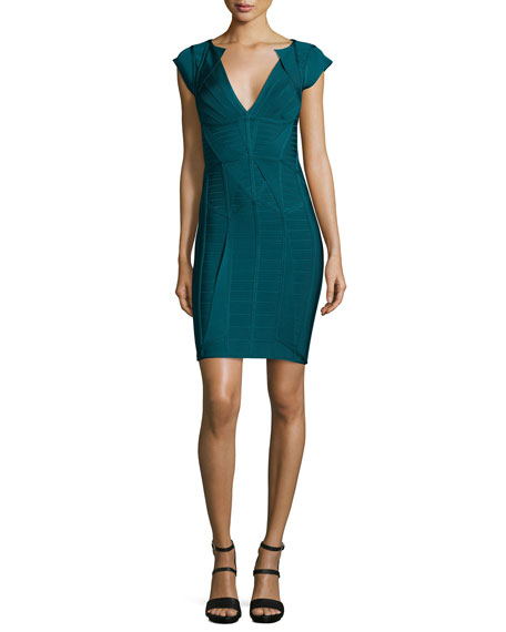Herve Leger Cap-Sleeve V-Neck Bandage Dress, Slate Teal