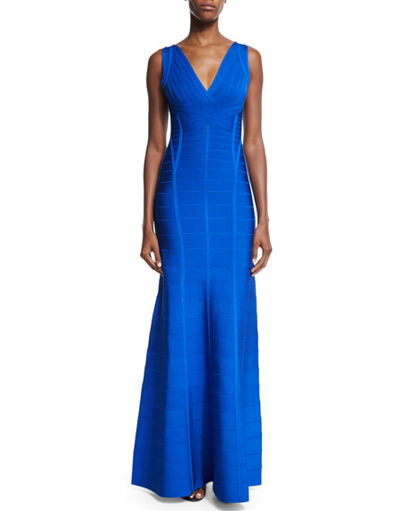 Herve Leger V-Neck Fit-&-Flare Gown, Bright Blue