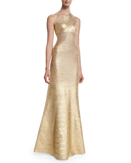 One-Shoulder Fit-&-Flare Gown, Gold Combo