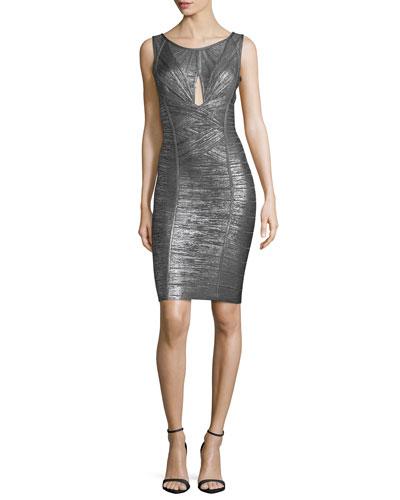 Herve Leger Sleeveless Metallic Cutout Bandage Dress, Gunmetal