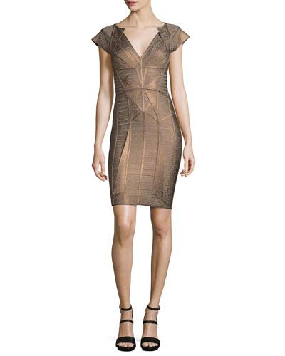Cap-Sleeve V-Neck Bandage Dress, Bronze Combo
