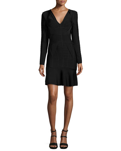 Long-Sleeve V-Neck Bandage Dress, Black