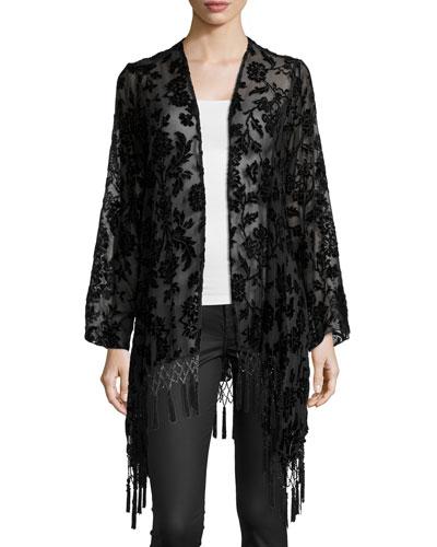 Stevie Floral-Print Jacket W/Fringe, Black