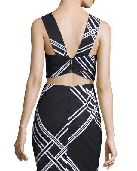 Tainted Romance Wrap-Front Crop Top, Black Check Print
