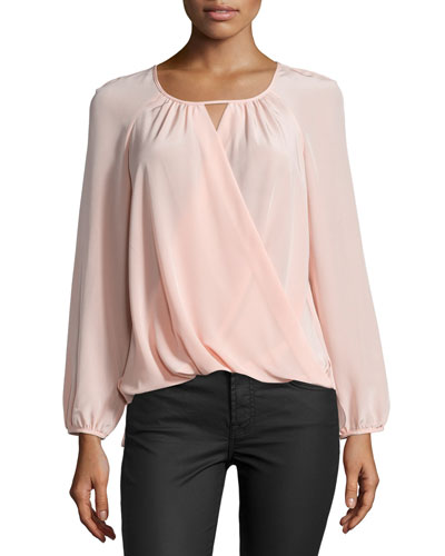 Long-Sleeve Wrap-Front Top, Ballet
