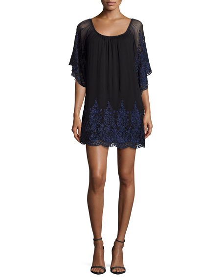 Love Sam Round-Neck Embroidered Dress, Black/Midnight