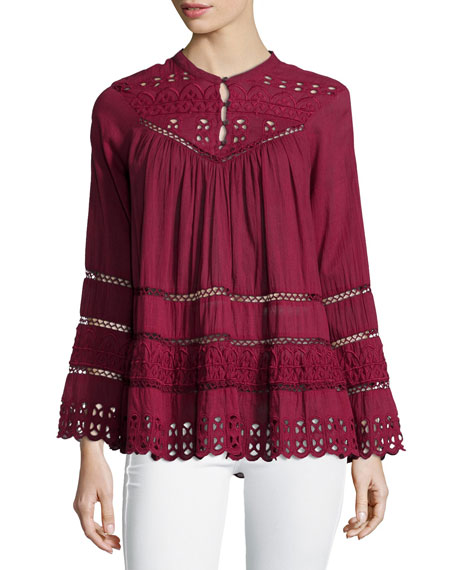 Love Sam Long-Sleeve Eyelet-Embroidered Top, Sangria