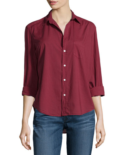 Eileen Long-Sleeve Button-Front Blouse, Wine
