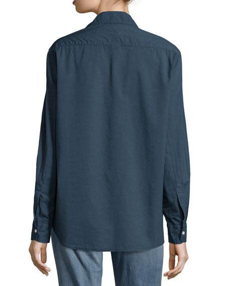 Eileen Long-Sleeve Button-Front Blouse, Navy