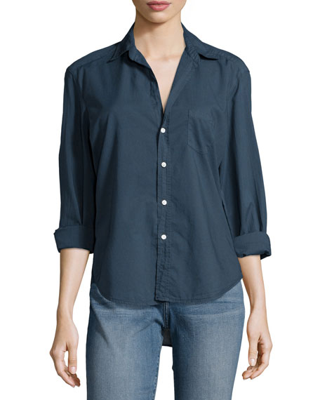 Eileen Long-Sleeve Button-Front Blouse, Navy