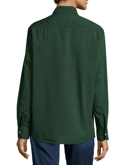 Eileen Long-Sleeve Button-Front Blouse, Deep Green