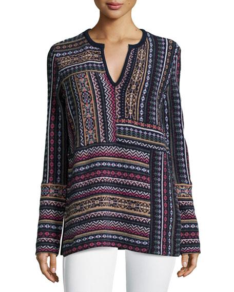 Tory Burch Long-Sleeve Patchwork Jacquard Sweater