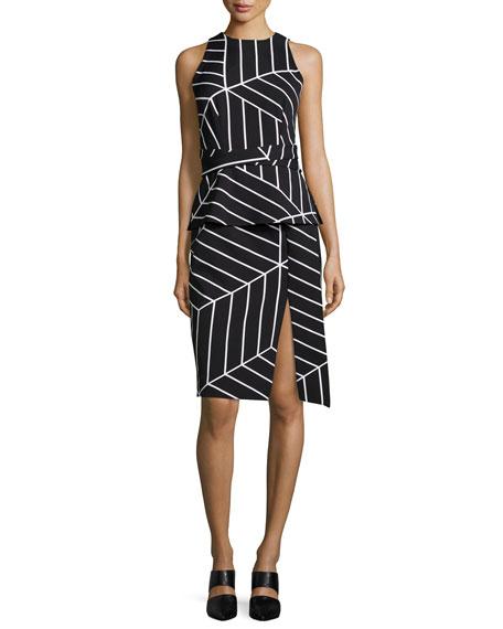 Keepsake Distance Sleeveless Geometric-Print Dress, Cube Geo-Print
