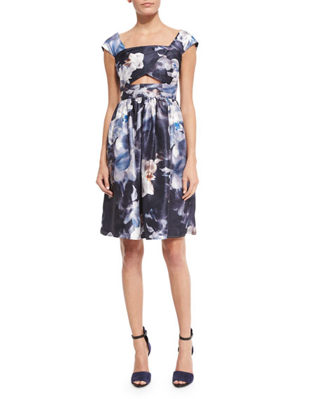 Keepsake Confessions Cap-Sleeve Dress, Blurred Floral