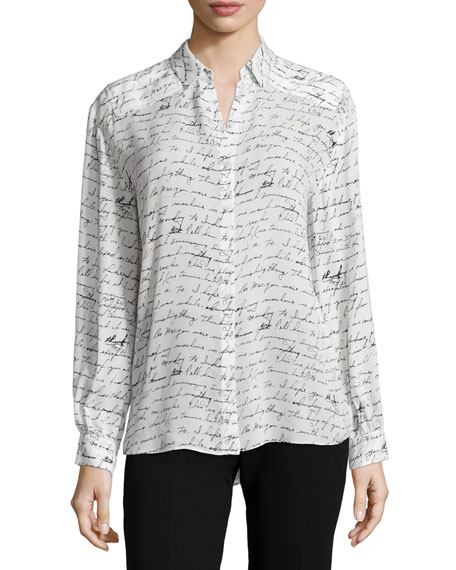 Love Letter Long-Sleeve Blouse, White/Black