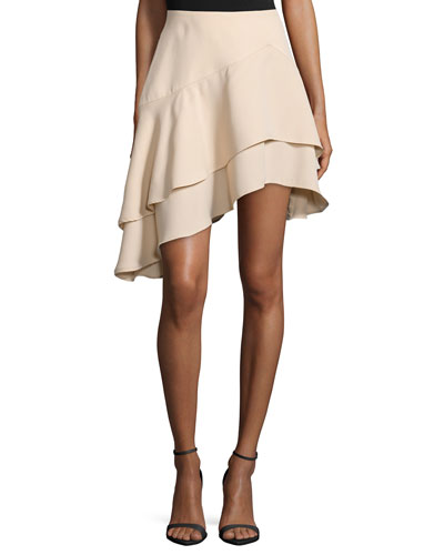 Easy Love Asymmetric-Layer Skirt, Apricot Nude