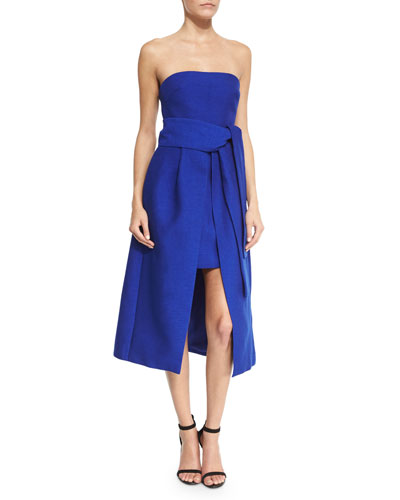 Wake Me Strapless Dress, Cobalt
