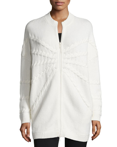 Lafayette 148 New York Oversized Zip-Front Cardigan, Cloud