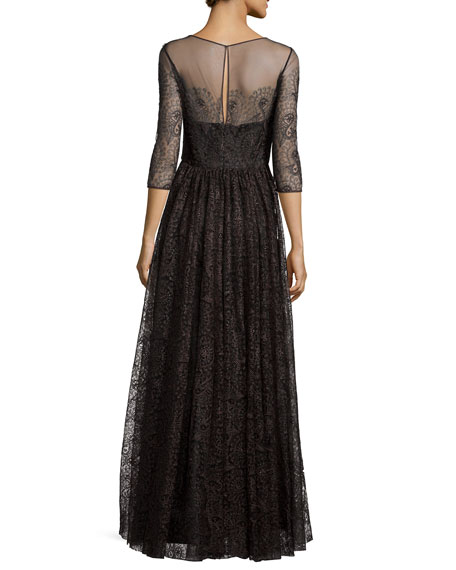 3/4-Sleeve Lace Tulle Gown