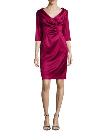 3/4-Sleeve Ruched Sheath Dress