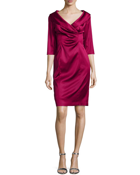 Kay Unger New York 3/4-Sleeve Ruched Sheath Dress