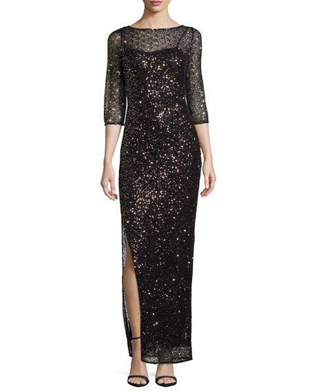 Kay Unger New York Sequined Lace Column Gown,