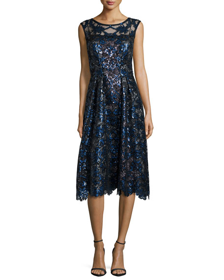 Kay Unger New York Sleeveless Sequined Fit-and-Flare Dress