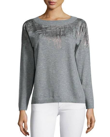 Lafayette 148 New YorkMetallic-Brushstroke Sweater, Nickel Multi
