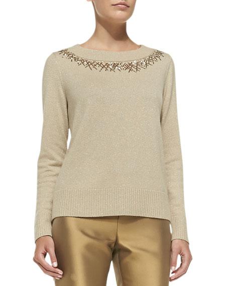 Lafayette 148 New York Metallic Sweater W/Sequined Trim, Gold