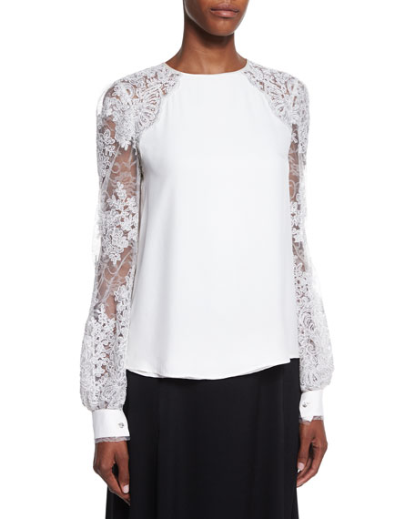 Kay Unger New York Lace-Sleeve Blouse