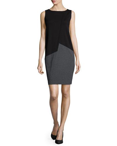Sleeveless Asymmetric Colorblock Shift Dress