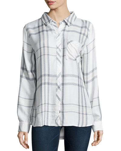 Hunter Plaid Poplin Shirt, White/Charcoal/Pink