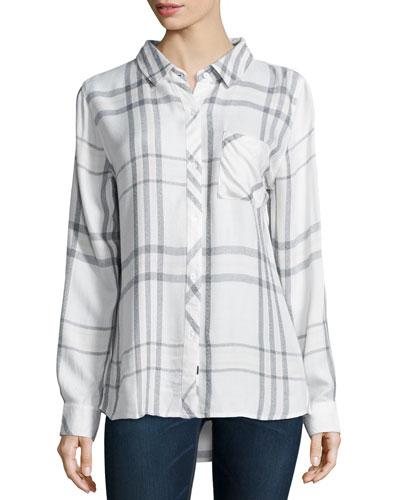 Hunter Plaid Poplin Shirt, White/Charcoal/Pink