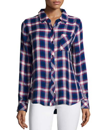 Hunter Plaid Poplin Shirt, Cobalt/Ruby